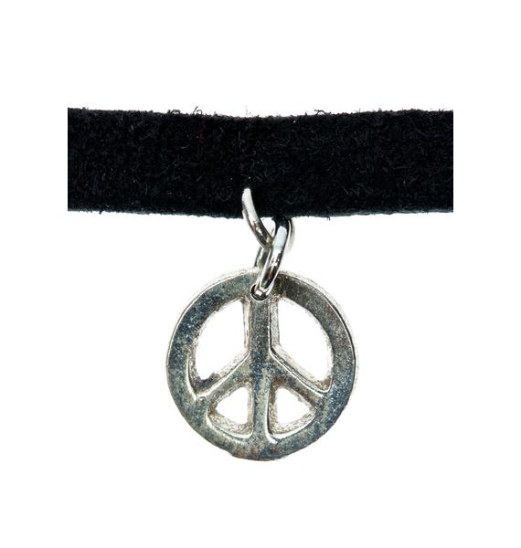 Vanessa Mooney Black Leather Peace Symbol Choker