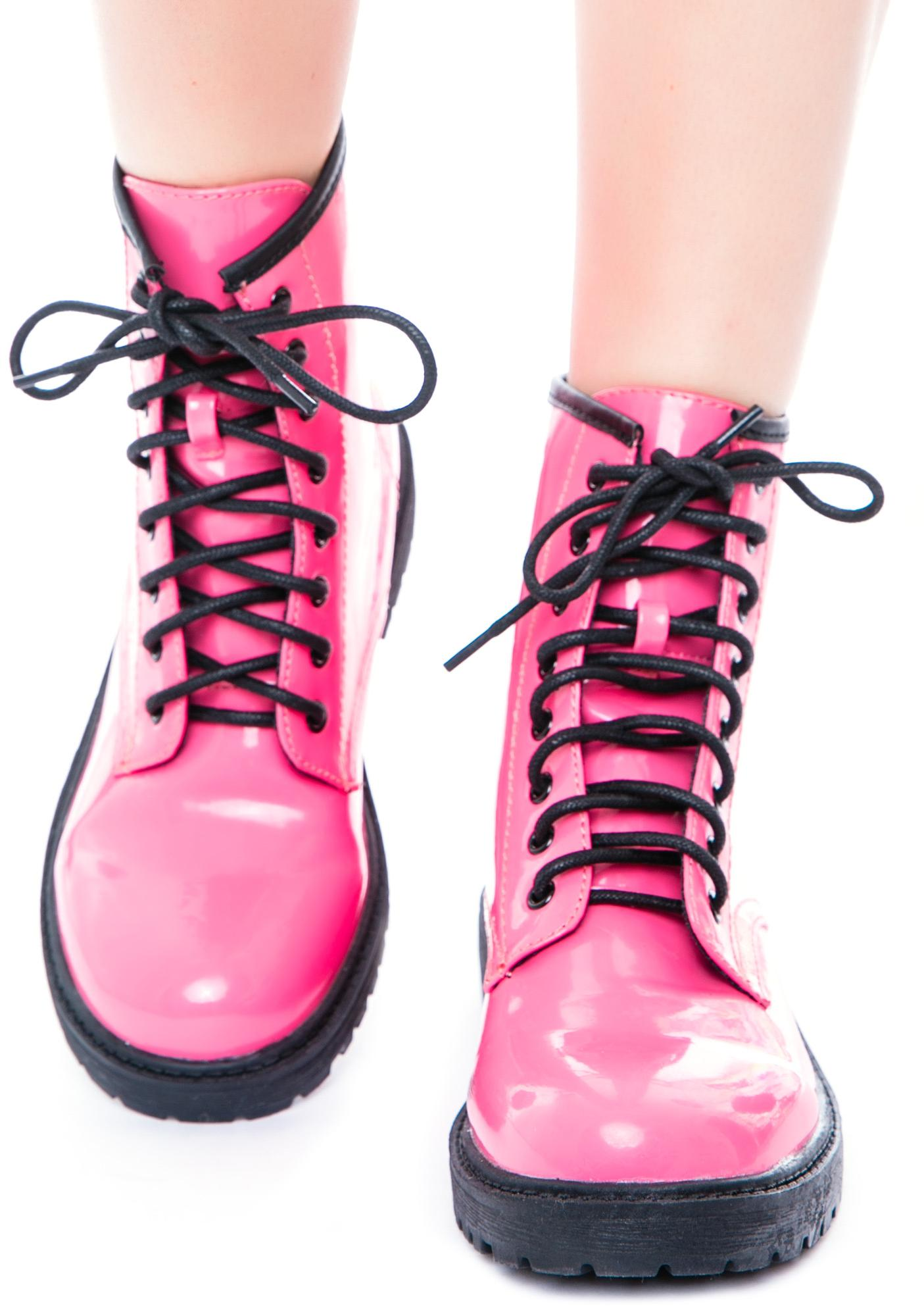 Rosalyn Patent Lace Up Boots