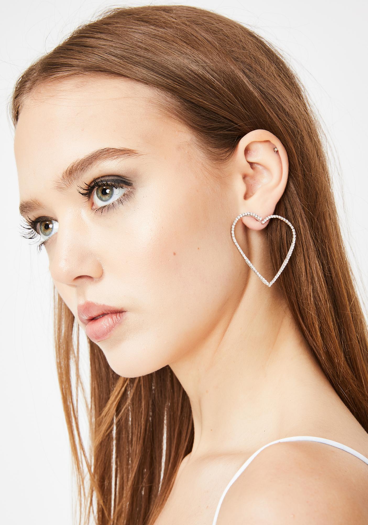 Fragile Heart Rhinestone Earrings