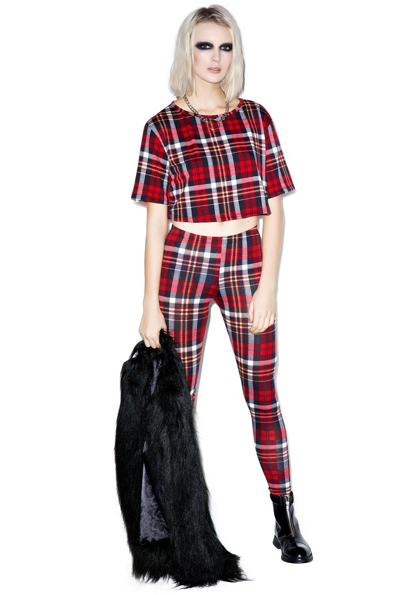 Plaid Gurl Club Crop Top