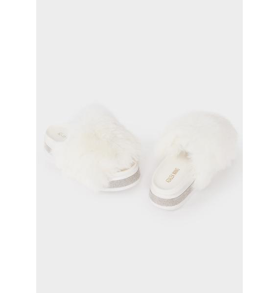 AZALEA WANG White Minto Rhinestone Slides
