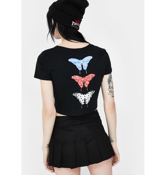 Funeral Black Bandana Butterfly Crop Tee