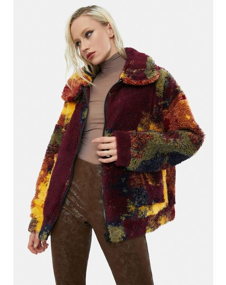 Autumnal Rainbow Fleece Borg Jacket
