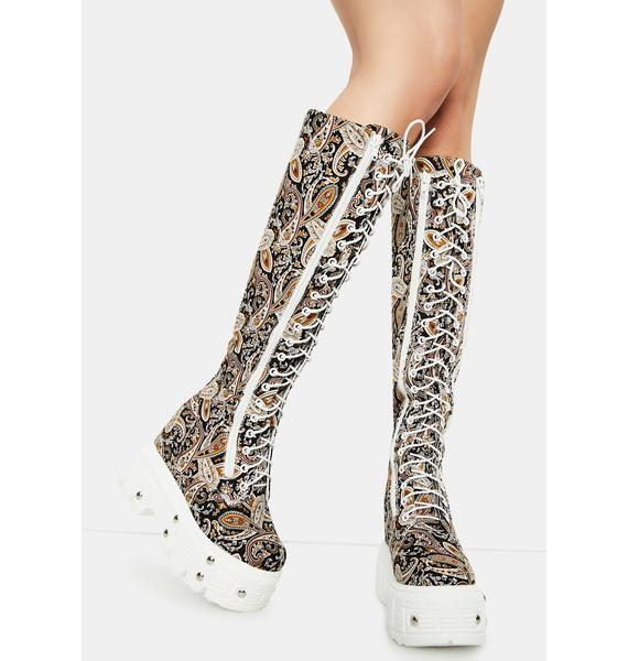 Paisley Late Night Knee High Boots