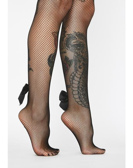 Backseam Bow Fishnet Tights