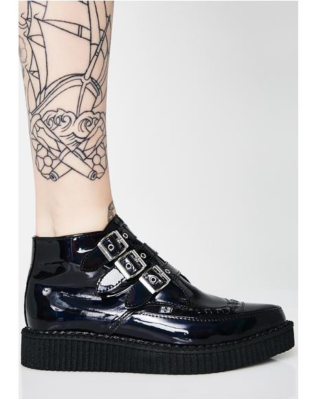 Black Hologram Patent 3-Buckle Pointed Creepers