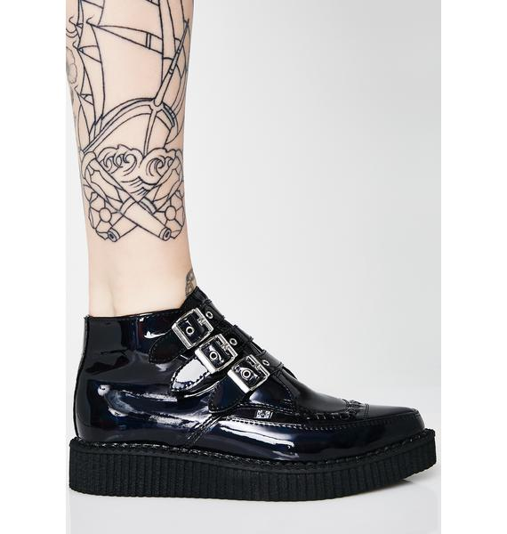 T.U.K. Black Hologram Patent 3-Buckle Pointed Creepers