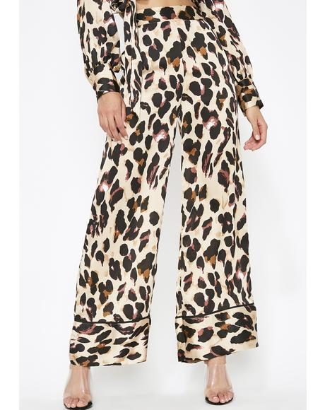 Catty Chic Satin Pants