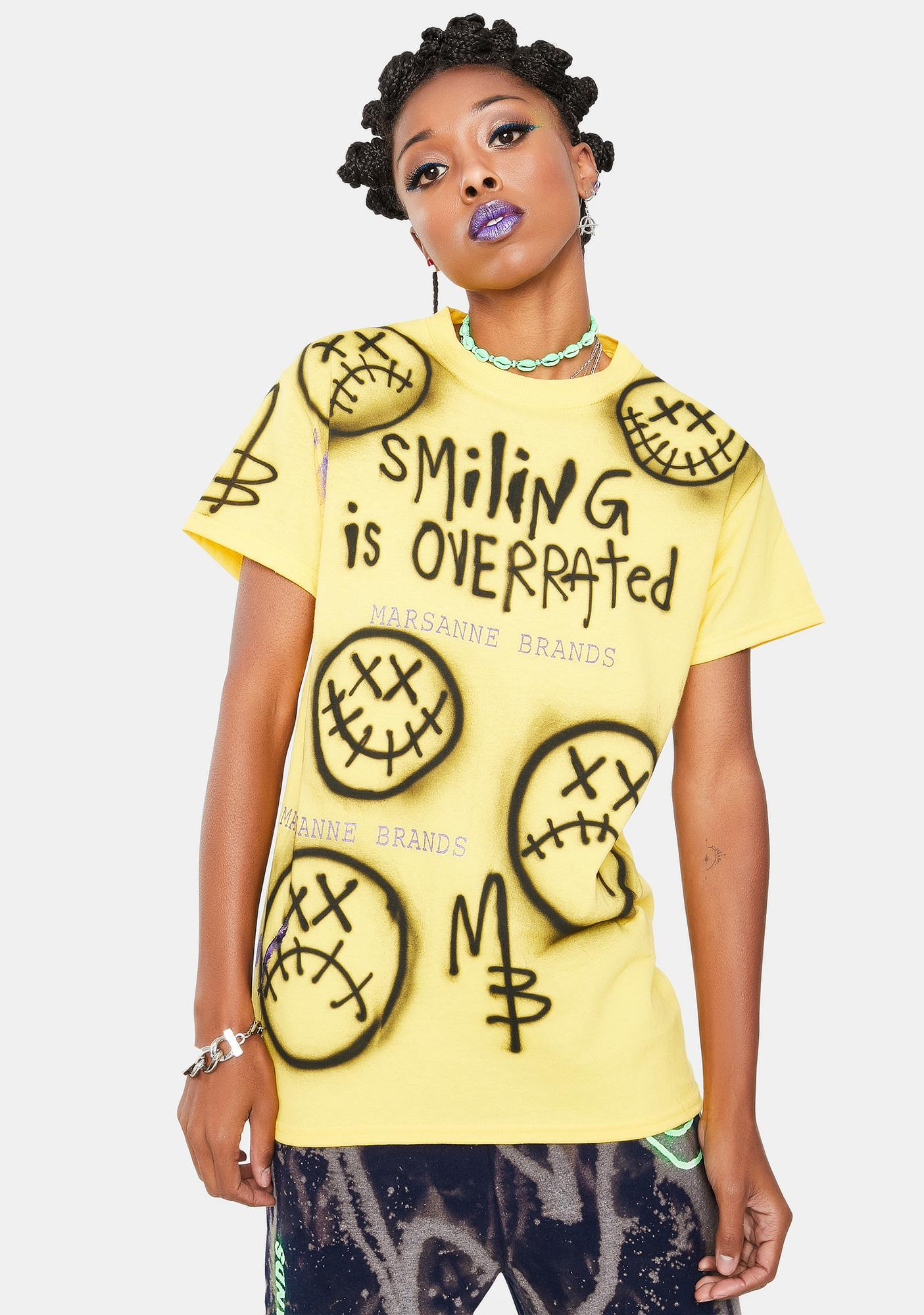 Marsanne Brands Smiling Is Overrated Graphic Tee