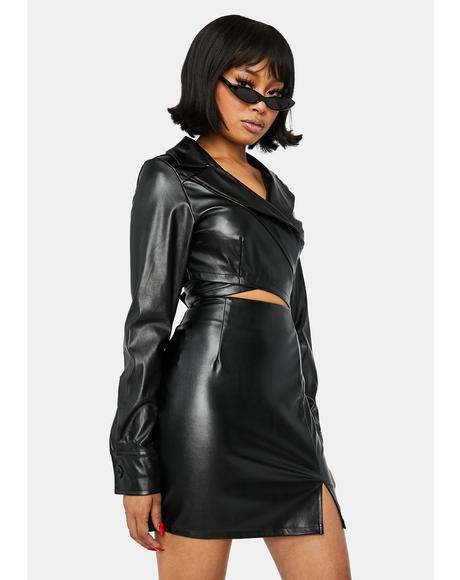 Diva Attitude Vegan Leather Skirt Set