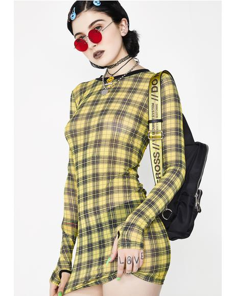 Riot Girl Plaid Mesh Dress