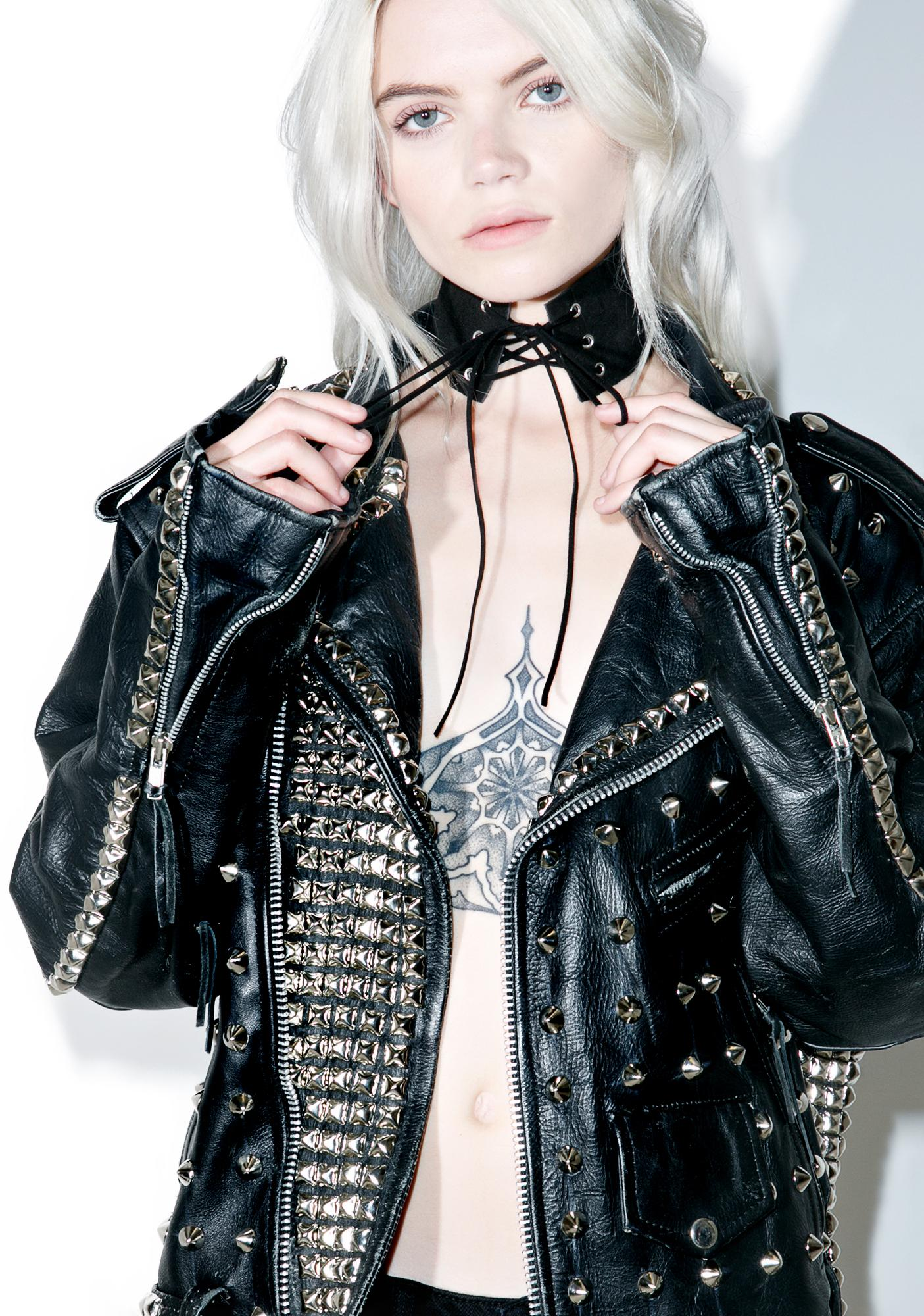 Dark Clockwork Lace-Up Choker