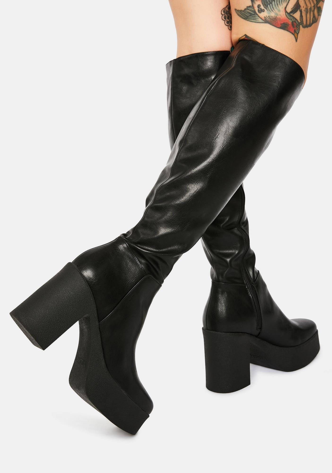 Lamoda Slick Nicks Knee High Platform Boots