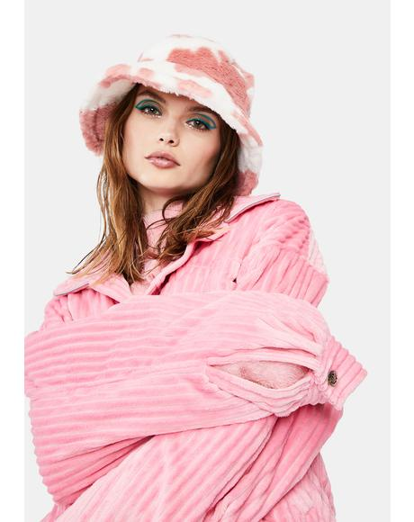 Strawberry Holy Cow Faux Fur Bucket Hat