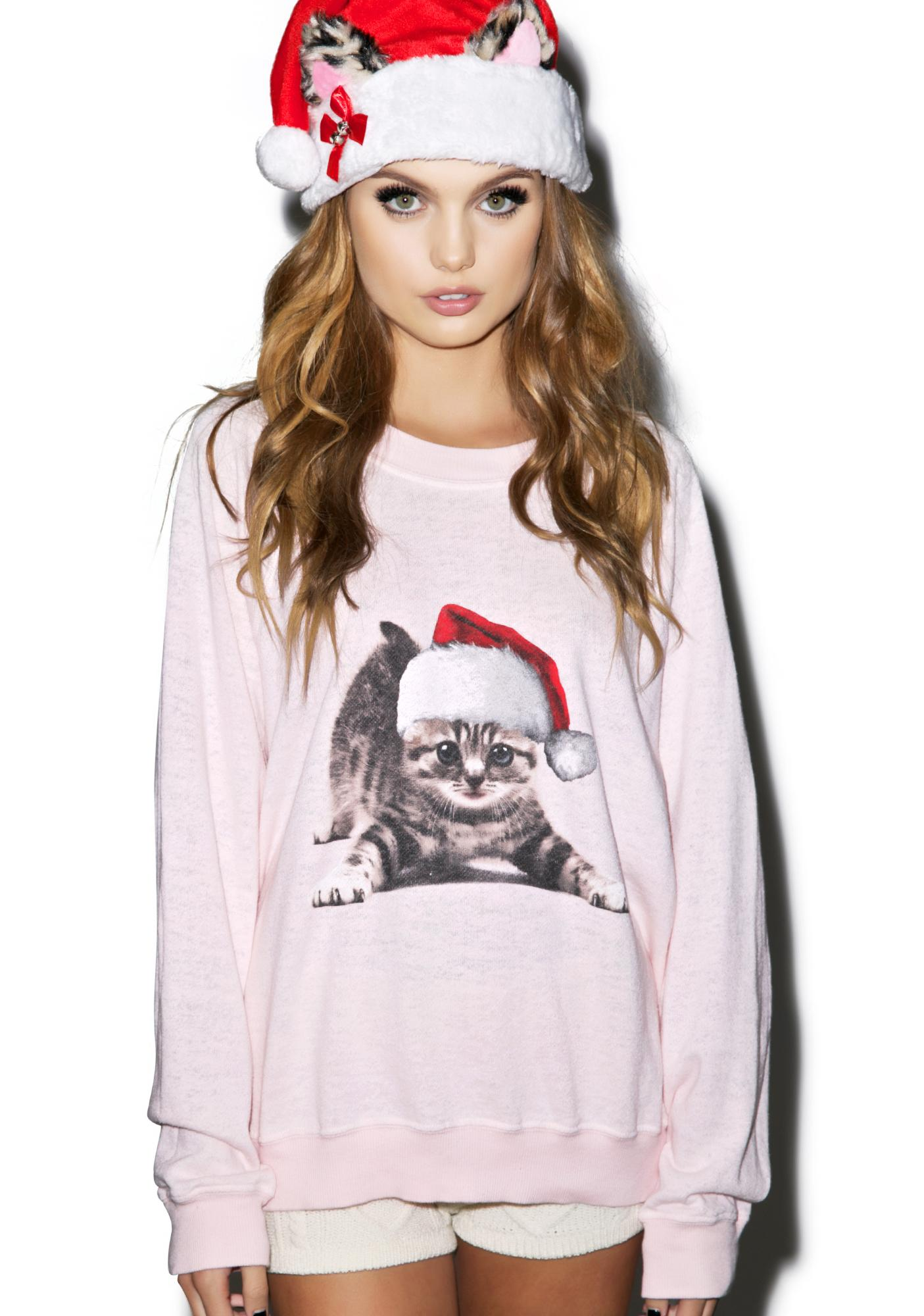 Wildfox Christmas Sweatshirt.Meowy Christmas Kim S Sweater