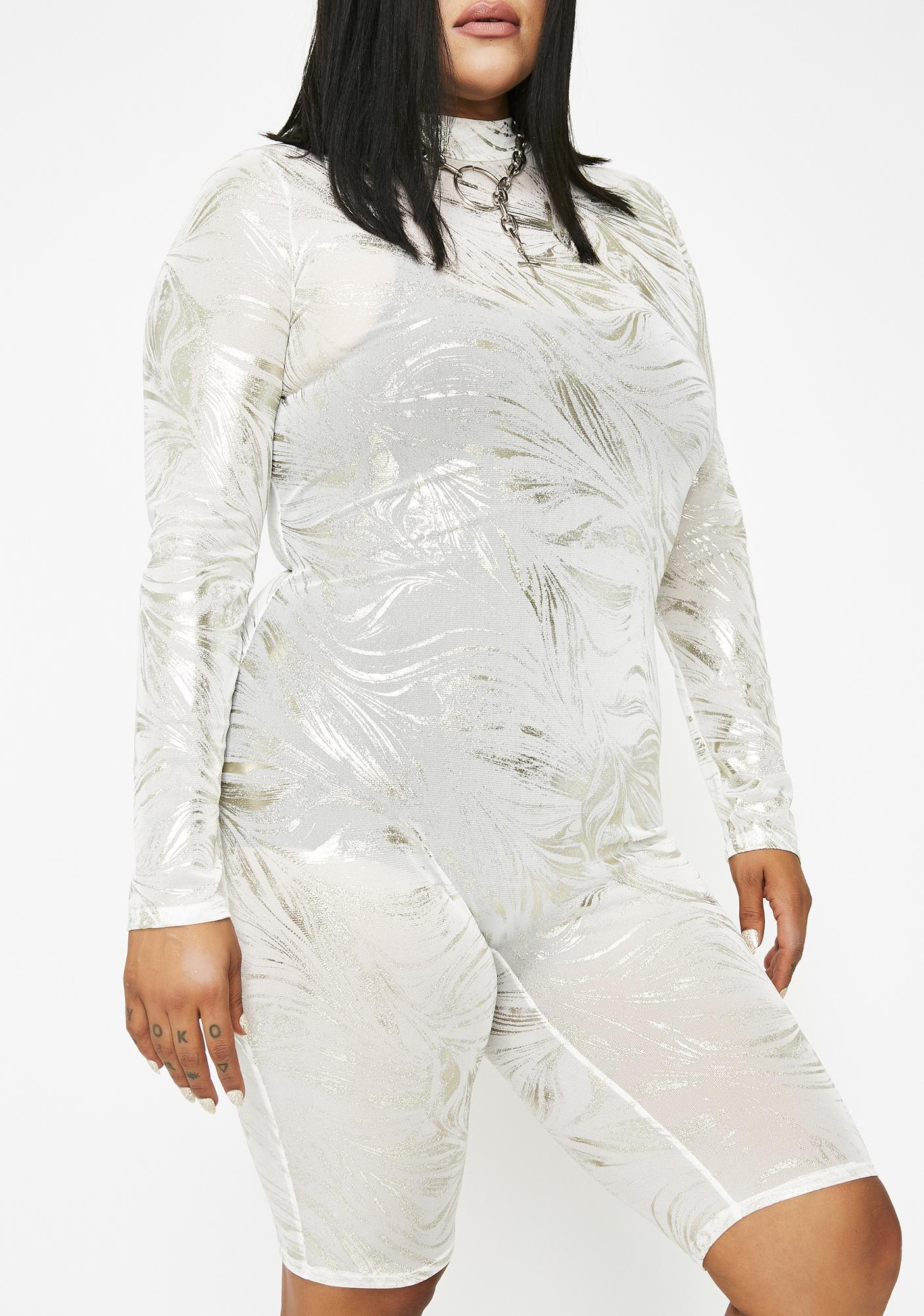 Lightening Silver Blaze Metallic Catsuit