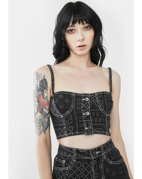 Carnitas Denim Crop Bustier Top