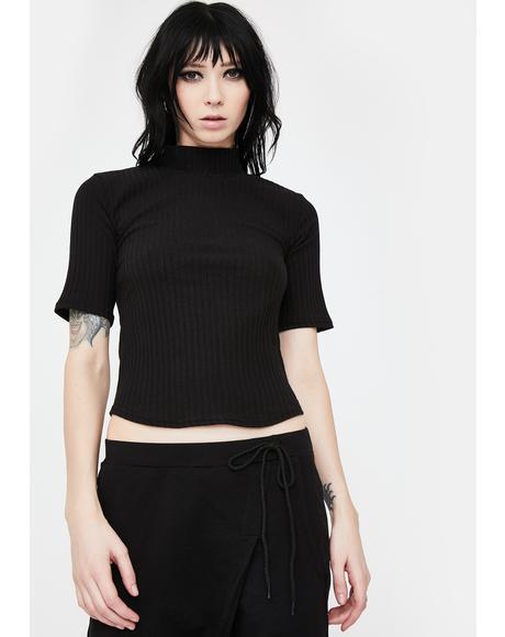 Black Vivian Crop Tee