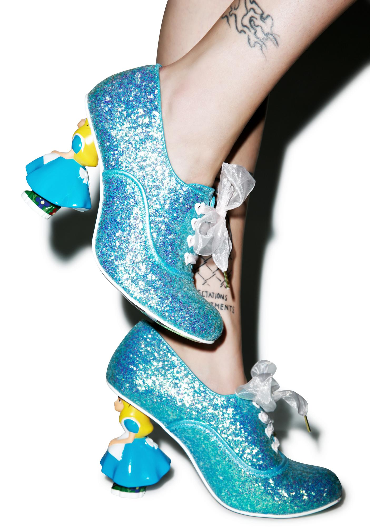 Irregular Choice Tea With Alice Glitter Heel