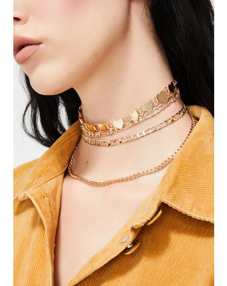 Luminous Love Chain Choker Set