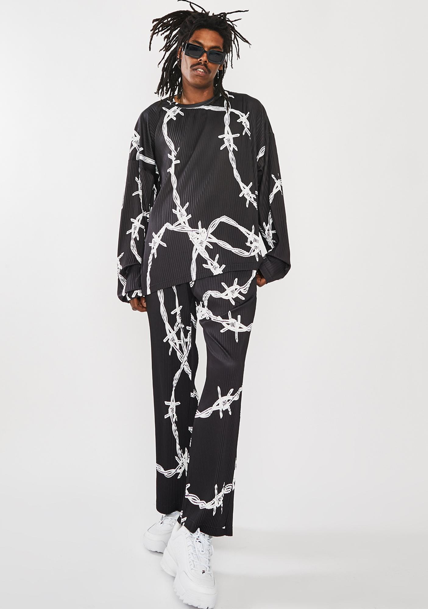 Jaded London Barbed Wire Pleated Sweatshirt