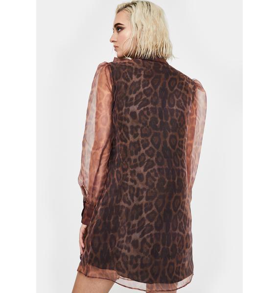 Glamorous Leopard Organza Puff Sleeve Dress