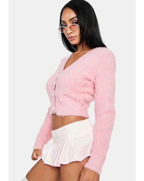 Blush Cutest Thing Fuzzy Crop Cardigan