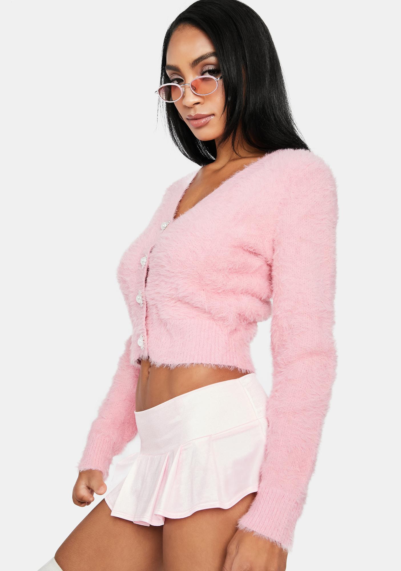 Blush Cutest Thing Fuzzy Crop Cardigan