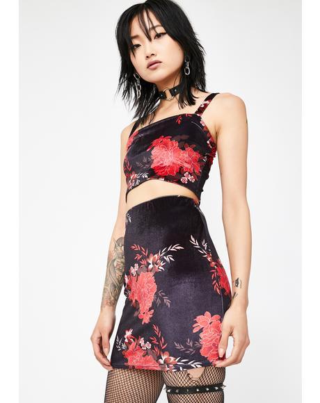 Fire Blossom Velvet Skirt