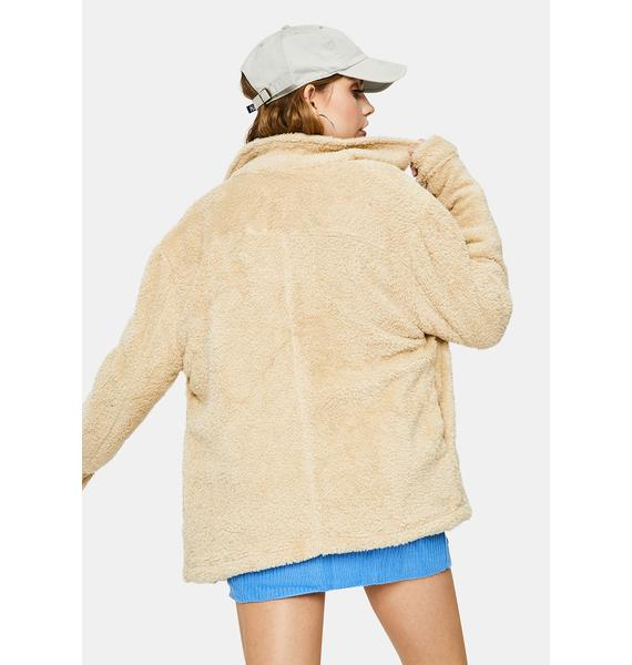 Bailey Rose Taupe Fuzzy Jacket