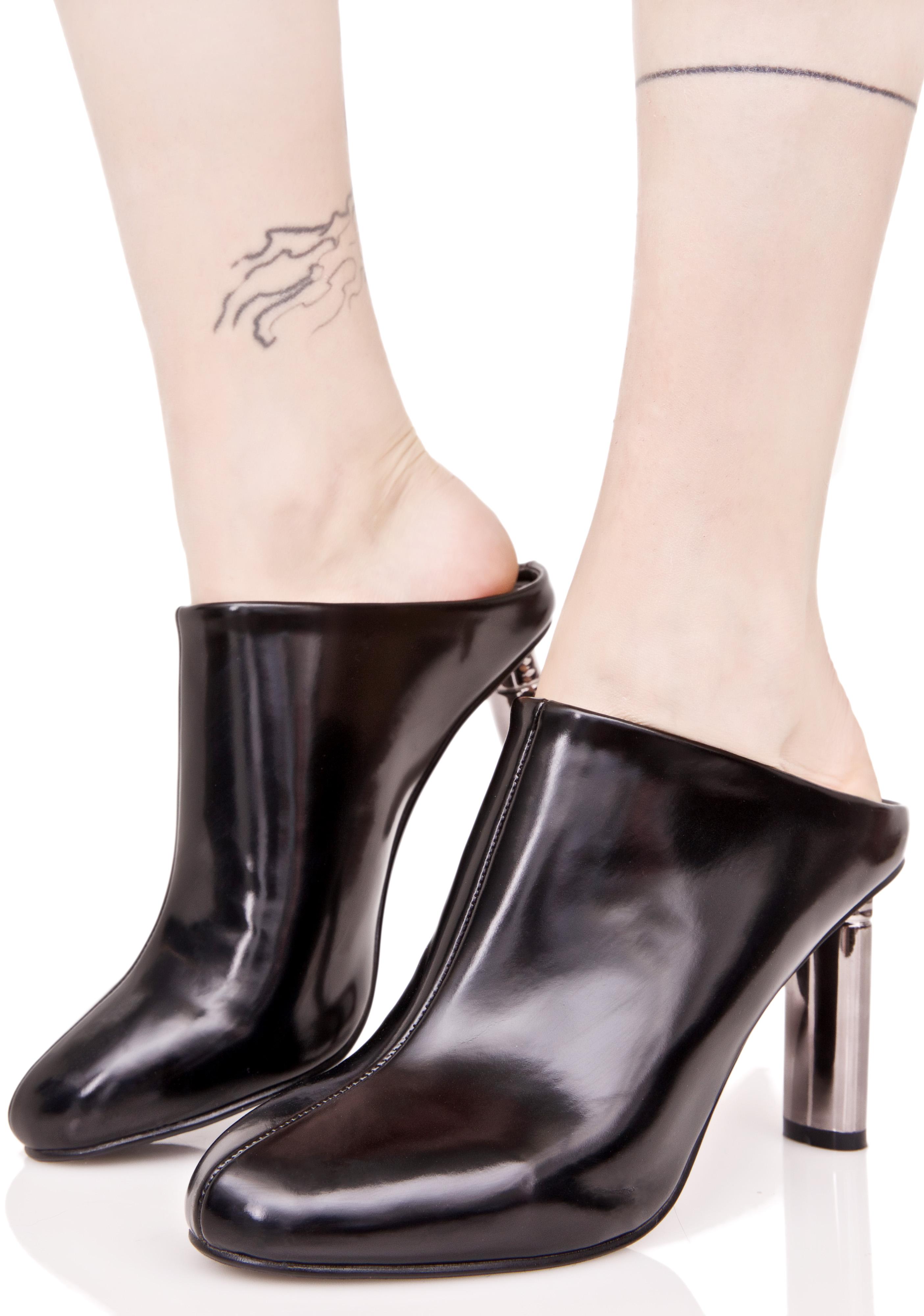 Black Pointed Mule Heels