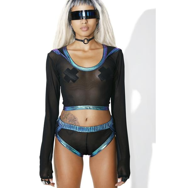 J Valentine Kinetic Mesh Hooded Crop Top