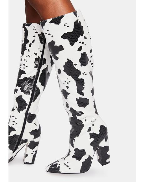 Fanning Cow Print Boots