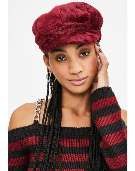 Wine Plush Love Faux Fur Hat