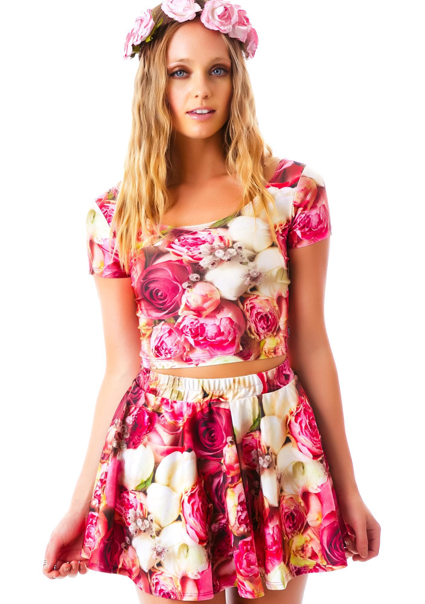 Zara Terez Pink Flower Patch Skater Skirt