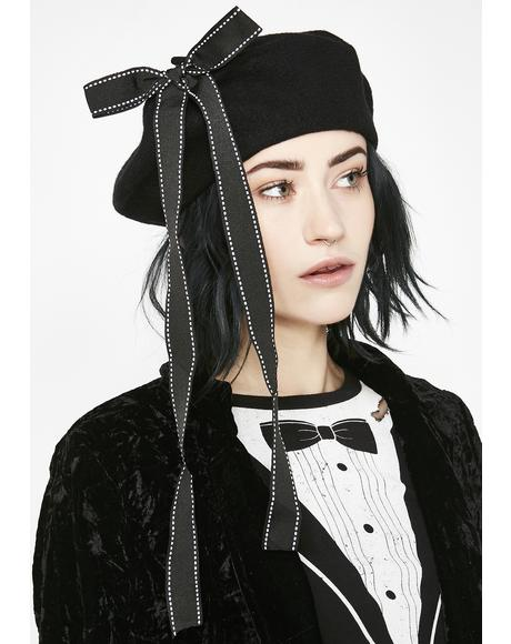 Midnight Honor Bound Bow Beret