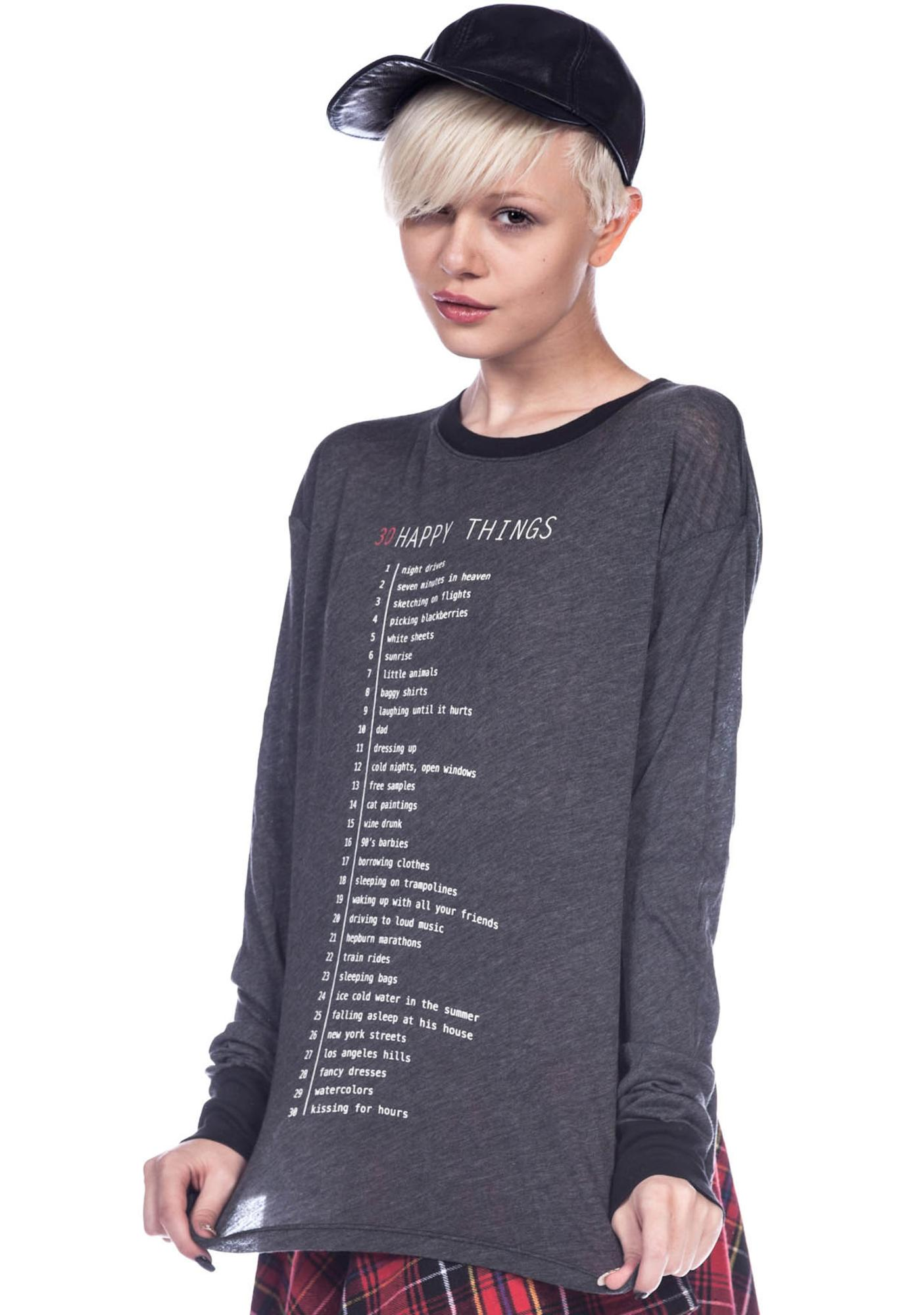 Wildfox Couture 33 Happy Things Long Sleeve Tee