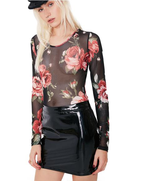Midnight Feelin' Rosy Sheer Floral Bodysuit