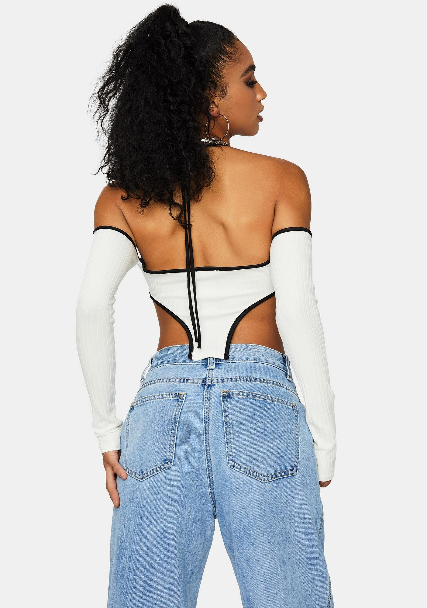 Ivory Keep Up Halter Crop Top With Arm Warmers