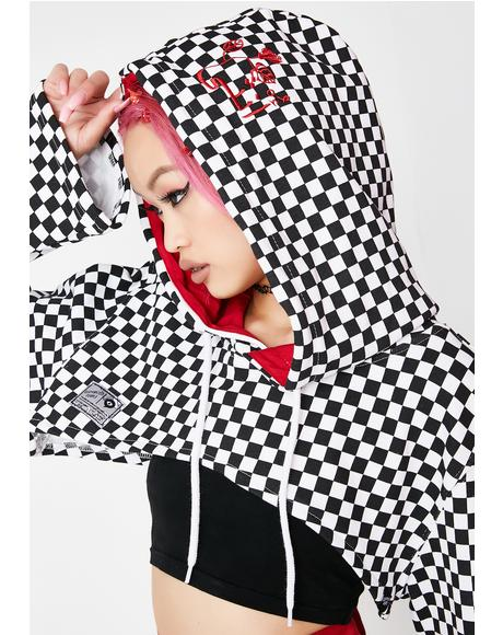 Checkerboard Cropped Hoodie
