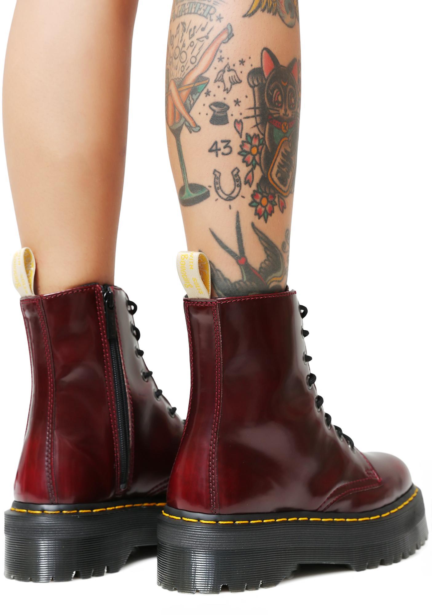 ... Dr. Martens Cherry Vegan Jadon II Boot