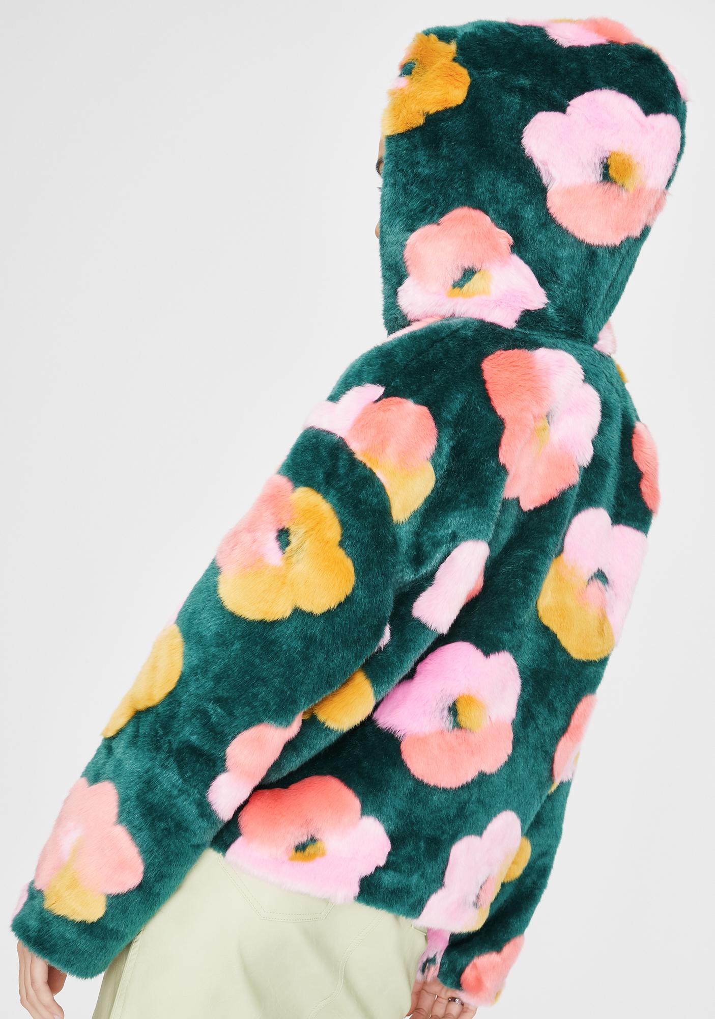 Glamorous Floral Fuzzy Zip Up Hoodie