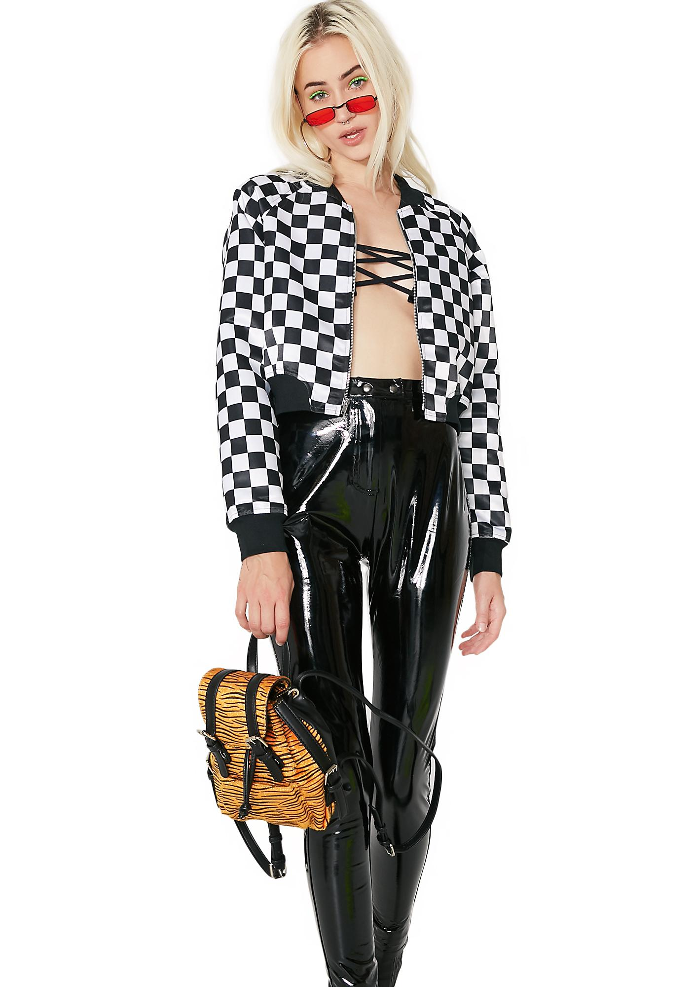 Talladega Checkered Cropped Bomber Jacket