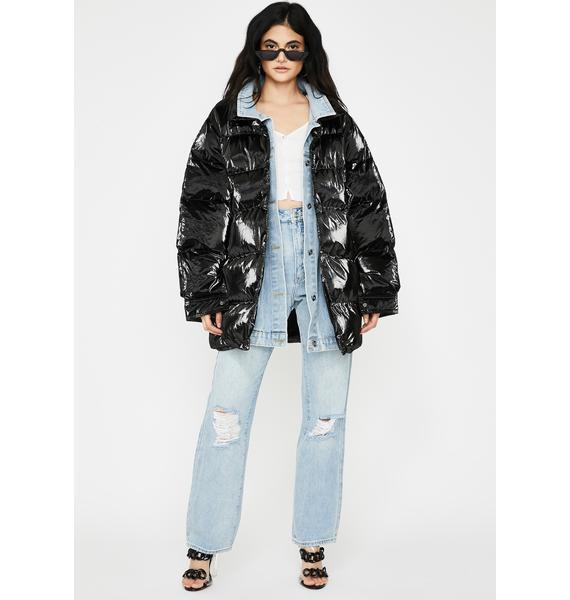 ZEMETA Black Denim Layer Long Puffer Jacket