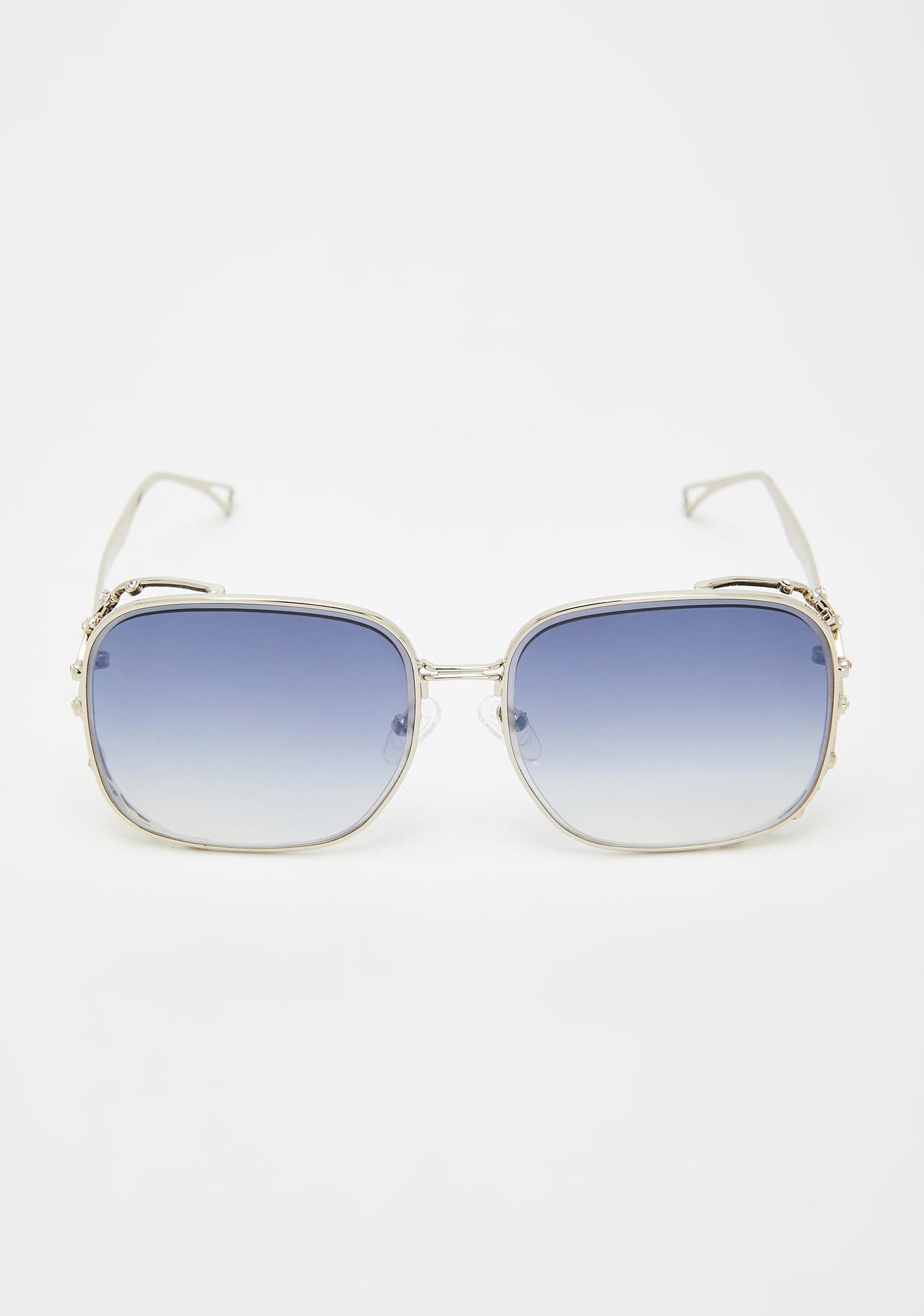 Platinum Ridin' Around Dipped Oversized Sunglasses