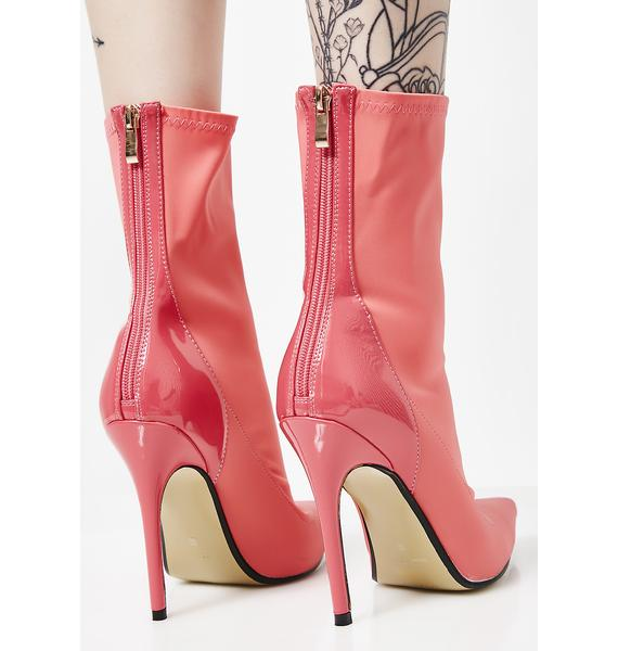 Public Desire Coral Staple Patent Stiletto Heel Ankle Boots