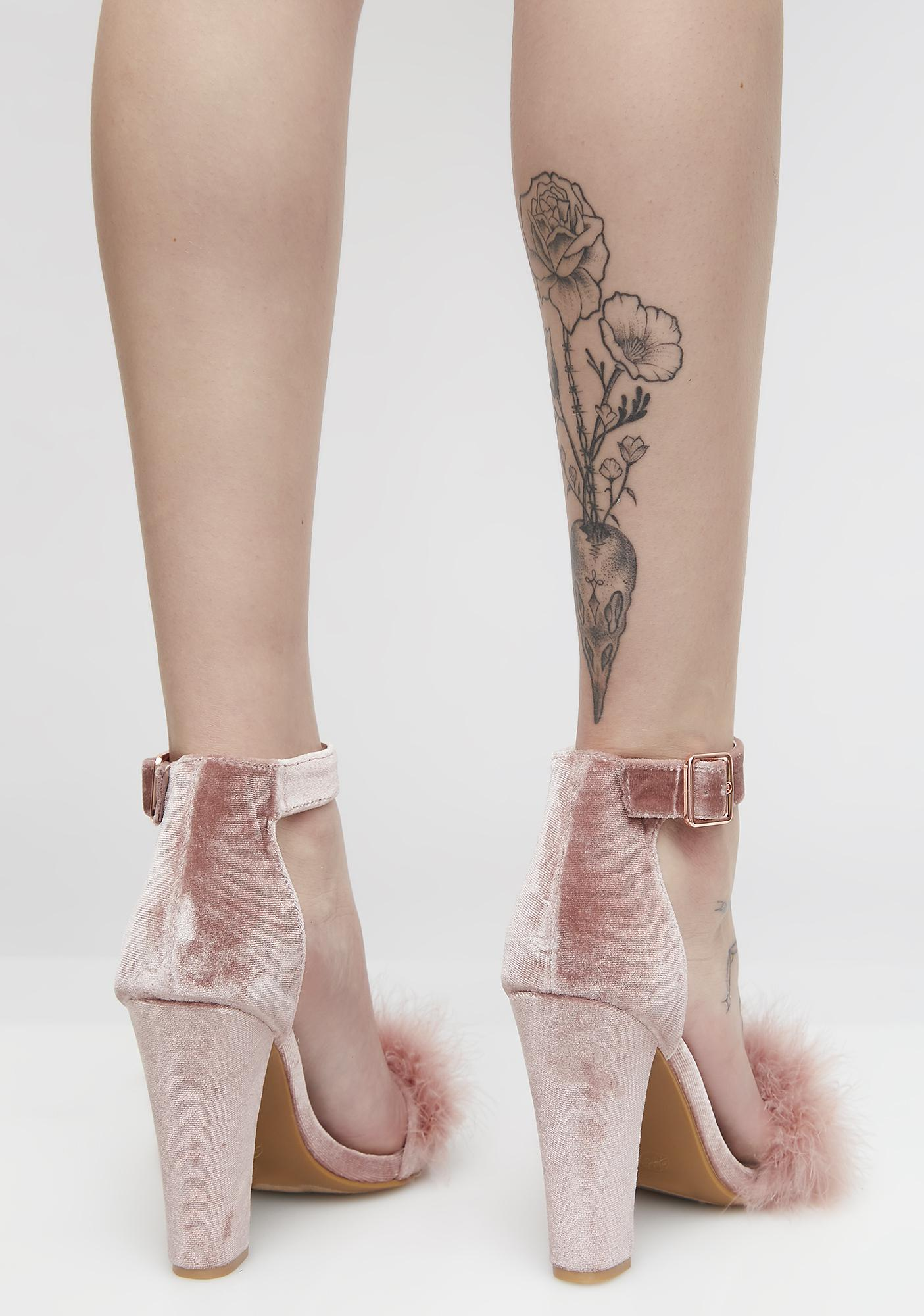 Pass The Rosé Fluffy Heels