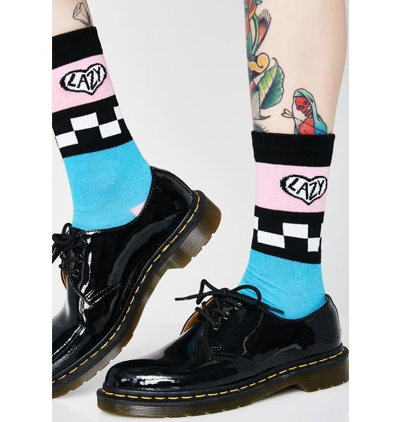 Lazy Oaf Teal Checkerboard Socks