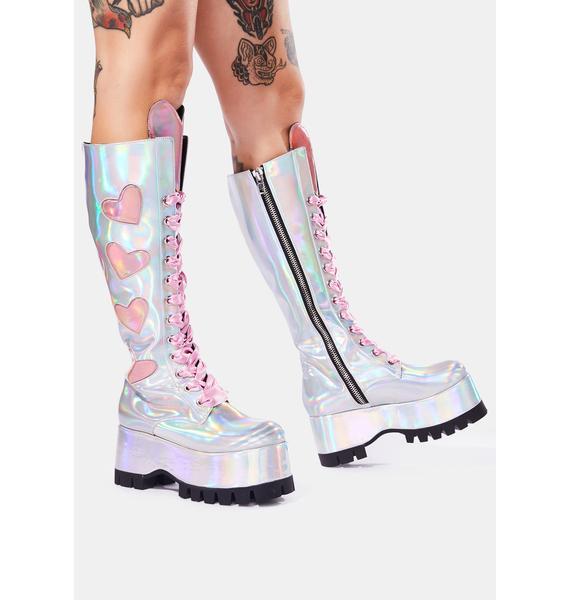 Club Exx Heart Attack Holographic Knee High Boots