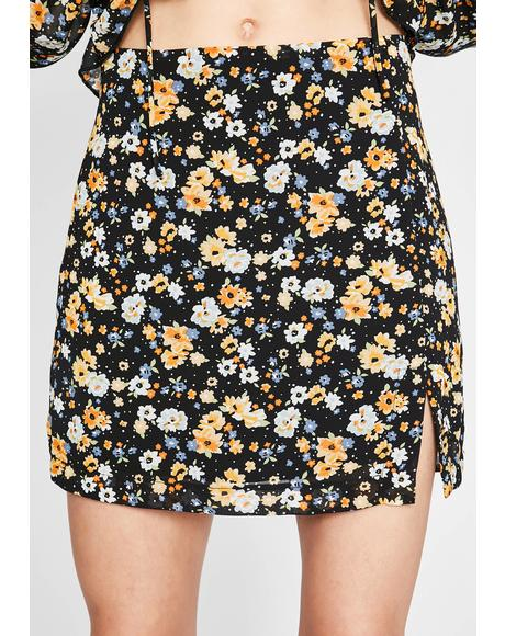 Everything's Flowers Mini Skirt